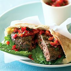 Lamb Burger Pitas with Two-Pepper Chutney - Quick & Easy Summer Dinner Recipes - Sunset Saffron Recipes, Easy Summer Dinners, Lamb Burgers, Delicious Burgers, Chutney Recipes, Wine Recipes, Lamb Recipes, Family Recipes, Recipes Dinner