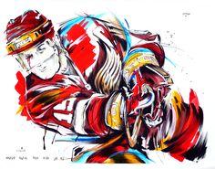 """The Captain"" Steve Yzerman Detroit Red Wings - original painting by Mark Penxa Hockey Girls, Hockey Mom, Ice Hockey, Hockey Stuff, Boston Bruins Hockey, Pittsburgh Penguins Hockey, Chicago Blackhawks, Steve Yzerman, Sports Painting"