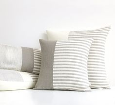 Minimal Striped Linen Pillow Cover 16x16 or by JillianReneDecor