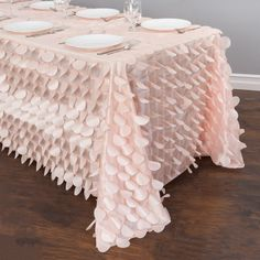 90 x 156 in. Rectangular Petal Tablecloth Blush Pink for Weddings and Special Events Cheap Wedding Decorations, Bridal Shower Decorations, Table Decorations, Birthday Decorations, Wedding Table Setup, Wedding Table Linens, Pink Tablecloth, Tablecloths, Baby Shower Table