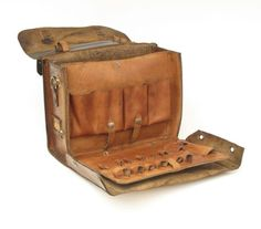 Brown Leather Craftsman Tool Case Satchel | From a unique collection of antique and modern trunks and luggage at https://www.1stdibs.com/furniture/more-furniture-collectibles/trunks-luggage/