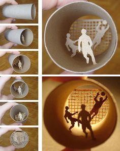 l'artiste Anastasia Elias a eu l'idée de créer à partir de simple rouleau de papier toilette, de véritables petites scenes miniatures.