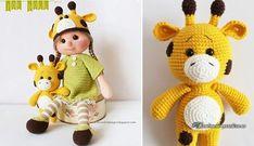 Жираф и куколка Зоя крючком. Описание вязания крючком игрушек для малышей - куколки Зои в шапочке и ее друга - желтенького жирафа.