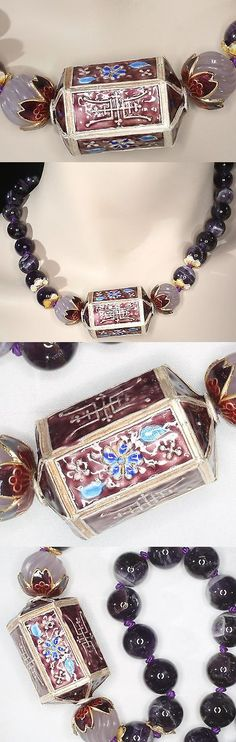 Necklaces and Pendants 98511: Chinese Enameled Lantern Carved Amethyst Necklace With Solid 14Kt Gold Clasp BUY IT NOW ONLY: $109.0