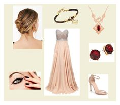 """Gryffindor Yule Ball Dress"" by santannaandashes ❤ liked on Polyvore featuring beauty, Jovani, Stuart Weitzman and Lauren Ralph Lauren"