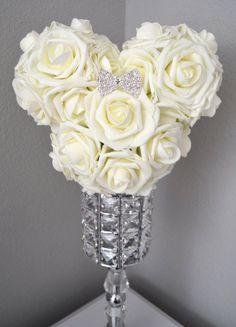 MICKEY Flower Ball With RHINESTONE BOW Brooch. Mickey Wedding. Minnie Kissing Ball. Mickey Bouquet. Mickey Pomander. Choose Rose Color.