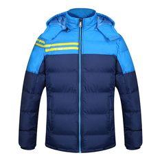 Mens Winter Thickened Warm Windproof Down Jacket Detachable Hat Coat