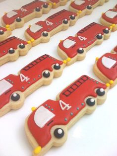 Fire truck cookies - look at all the little details! - SunshineBakes.etsy.com