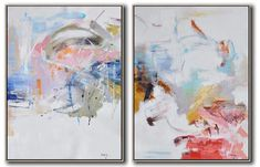 Set of 2 Abstract Oil Painting #S157 #Abstract #Artists_Lin-Xiang #colored