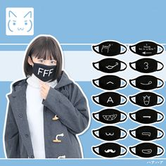 "use code: ""puririnhime"" to get 10% OFF everytime you shop at www.sanrense.com Kawaii black face masks"