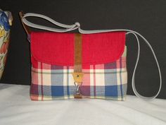 Maycas Daily Messenger Bag in Plaid Blue Red  by maycascollection on Etsy, $40.00