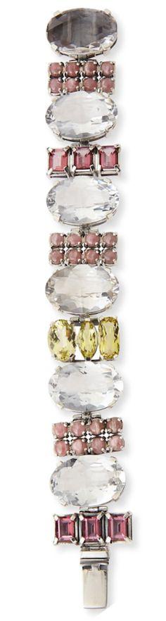 Stephen Dweck Multi-Stone Rock Crystal, Quartz & Rhodochrosite Bracelet