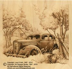 Old car wood burning by Lora Irish - lots of tips and patterns found here!