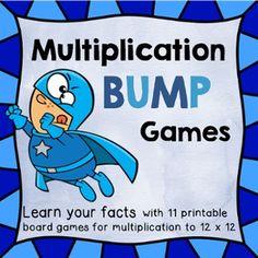 FLASH FREEBIE Multiplication Bump Games Facts 2 - 12