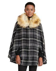 Faux-Fur Collar Plaid Poncho - Lauren New Arrivals - RalphLauren.com