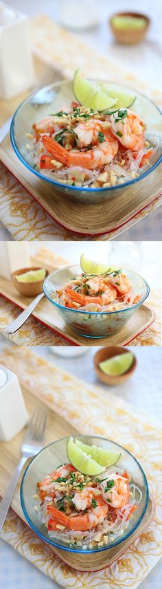 Thai Noodle Salad Yum Woon Sen – easy recipe of healthy Thai noodle salad with shrimp in a delicious lime and sweet chili dressing | rasamalaysia.com