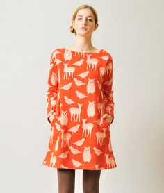 One-Piece/Dress Boat Neck Long Sleeve Sweat One-Piece B(Forest Animal)