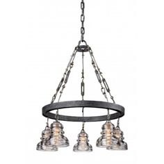 Troy Lighting Menlo Park Ceiling Pendant In Old Silver - Give your decor an industrial-inspired design with the Troy Lighting Menlo Park Chandelier. This chandelier will add visual interest to any room in your house. Industrial Chandelier, 5 Light Chandelier, Chandelier Shades, Dining Chandelier, Silver Chandelier, Insulator Lights, Glass Insulators, Electric Insulators