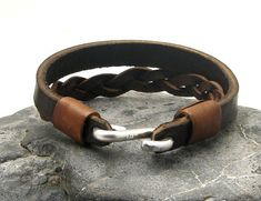 """FREE SHIPPING Men's leather bracelet Brown leather braided cuff men's bracelet with metal work  """"S"""" clasp"""
