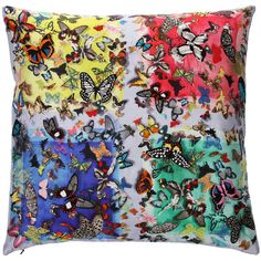 Christian Lacroix Colour Party Cushion  - 50x50cm (355 SAR) ❤ liked on Polyvore featuring home, home decor, throw pillows, pillows, accessories, furniture, multi, christian lacroix, butterfly throw pillows and embroidered throw pillows