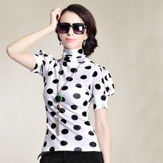 Fashion High Neck Puff Sleeve Designer Blouses