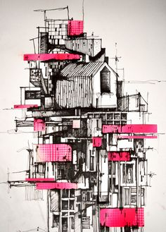 archisketchbook - architecture-sketchbook, a pool of architecture drawings, models and ideas - Daniele Zerbi - monolocale ink on paper ...
