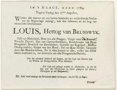 Anonymous | Uitnodiging voor de begrafenis van de hertog van Brunswijk, 1784, Anonymous, 1784 | Gefingeerde uitnodiging voor het bijwonen van de begrafenis van de hertog van Brunswijk, 27 augustus 1784.