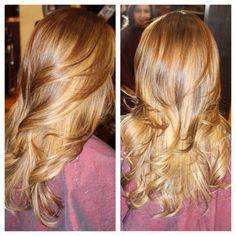 Balayage highlights on light brown hair