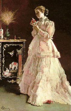 Alfred Stevens Femme en rose 1866 Artiste d'origine belge, Stevens a un énorme succès grâce à ses tableaux où des personnages...