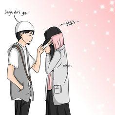 Keterangan foto tidak tersedia. Cute Couple Cartoon, Cute Couple Art, Anime Love Couple, Muslim Brides, Muslim Girls, Muslim Couples, Muslim Couple Photography, Hijab Drawing, Islamic Cartoon
