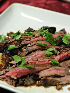 Balsamic marinated Flank Steak. Lin's note: I couldn't find flank steak, so I marinated a thinly sliced new york strip. Delicious! 3-4 minutes on each side was too long though. Try 1-2 to get a medium steak. Another tip from another pinner: marinate overnight for more flavor.