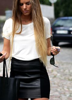 White top+ black skirt= casual but still chic Source: http://tierdropp.tumblr.com/post/74345708586
