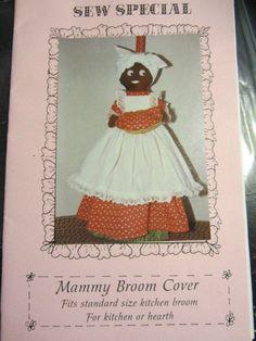 Sewing Pattern Mammy Broom Cover Black Americana Lady Sew Special 1986 #BlackAmericana #Mammy #Sewingpattern #folkart