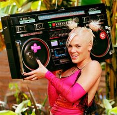 """P!nk and the Technidyne TD-10000 """"Wheely"""" #ghettoblaster #boomboxes Who created the TD-10000? We want know."""