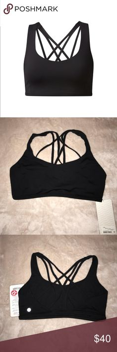 Lululemon Free To Be Tranquil sports bra Slim band and light support give his bra a featherlight feel. 1/2 bra band lets you breathe easy. Luxtreme fabric is sweat-wicking and four-way stretch with cool, smooth feel. Pockets for optional removable cups. lululemon athletica Intimates & Sleepwear Bras