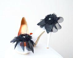1 pair Black  Rhinestone shoe clips bridal shoe by SpecialFabrics, $25.00