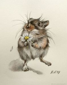 Artist: Alena Olt More art: Ta – Heike Bunn - Art ideas Animals Watercolor, Watercolor Artists, Watercolor Paintings, Watercolor Inspiration, Illustration Inspiration, Animal Paintings, Animal Drawings, Cute Drawings, Maus Illustration
