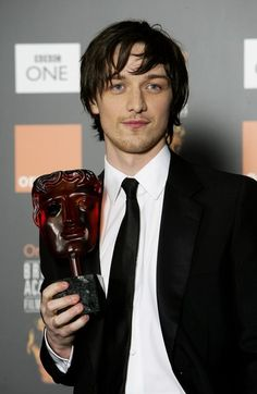 James McAvoy poses backstage in the Awards Room with The Orange Rising Star Award at The Orange British Academy Film Awards (BAFTAs) at the Odeon Leicester Square on February 19, 2006 in London, England.