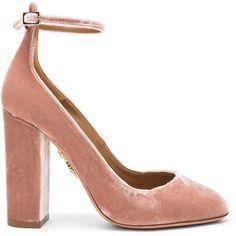 Aquazzura Velvet Alix Pumps ($720) ❤ liked on Polyvore featuring shoes, pumps, heels, aquazzura pumps, aquazzura shoes, high heeled footwear, high heel shoes and velvet shoes