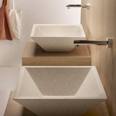 Grifos minimalistas y porcelana. ¿Te gusta esta idea? Exterior Design, Interior And Exterior, Terrazo, Sink, Bathtub, Boutique, Bathroom, Home Decor, Google