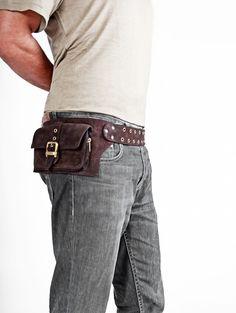 men leather bag in brown belt pouch hip bag