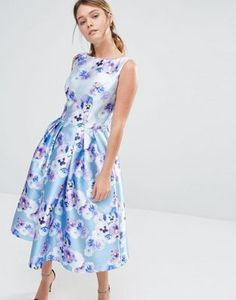 Chi Chi London Sateen Prom Dress In Floral Print
