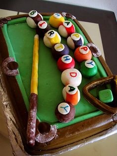 Made an 8 Ball Fondant Covered Cake to order for a friend's husband. Cake is a double layer 13 x 9 inch chocolate cake sandwiching and coated with buttercream icing, and marshmallow fondant. The following link goes to the 'How to' page:     http://gastronomicaorgasm.blogspot.com/2011/10/8-ball-fondant-covered-cake.html