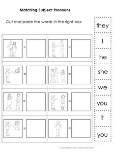 $ Subject and Object Pronouns, Possessive Adjectives and Pronouns Matching Set