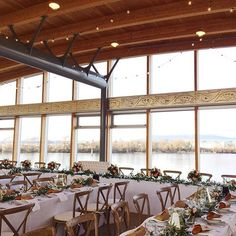 How friendly is this long table set-up at UBC Richmond Boathouse? Plus that view tho! Long Table Wedding, Rustic Wedding Reception, Wedding Dinner, Wedding Receptions, Wedding Decor, Wedding Ideas, Lakefront Property, Table Set Up, Boathouse