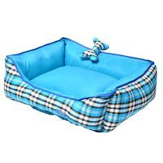 Cama Rubi Xadrez Azul Tec. Algodão São Pet - MeuAmigoPet.com.br #petshop #cachorro #cão #meuamigopet