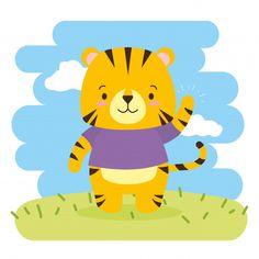 Cute tiger cartoon, illustration Free Vector | Premium Vector #Freepik #vector #cartoon #animal #comic #farm Cute Tigers, Baby Shower Invitation Templates, Animal 2, Social Media Logos, Baby Art, Photos For Sale, Keynote Template, Cute Cartoon, Graphic Illustration