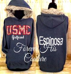 USMC varsity style pullover USMC Wife usmc by ForeverHisCouture, $56.00
