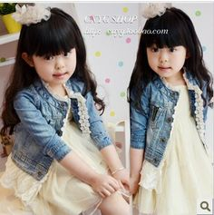 Free Shipping Children's  clothing 2013 Fall Autumn girls coats kids water wash denim lace Jackets Clothes 5pcs/LOT US $91.90