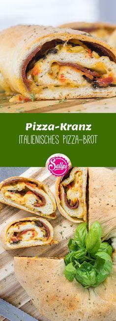 Würzige Pizzazutaten in einem dünnen Pizzateig, geformt als Kranz. Ein schnelles und einfaches Partyrezept.